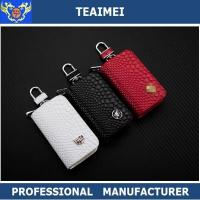 China Womens / Mens Red / White Leather Keychain Holder With Clip Wallet Key Holder wholesale