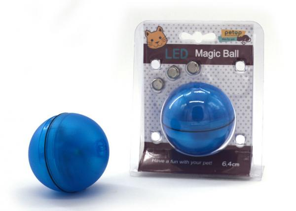 Quality Blue Color LED Motion Activated Cat Toy , Interactive Dog Toy Light Up Ball for sale
