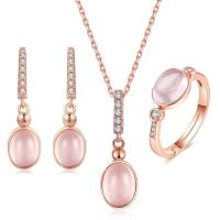 China CZ Natural Rose Quartz Pendant Necklace Ring Earrings Women's Jewelry Sets wholesale
