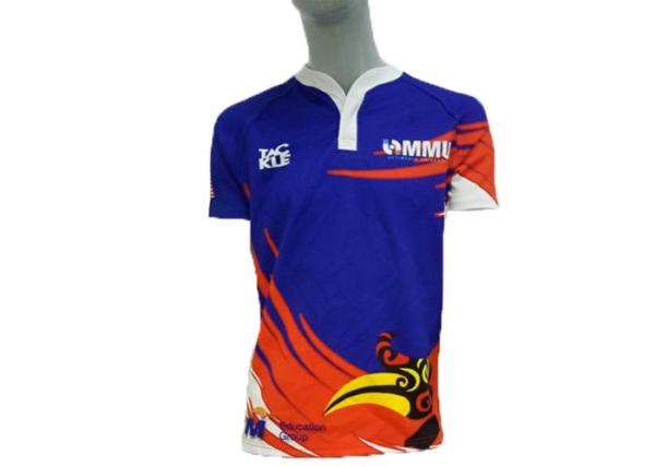 Quality Short Sleeve Rugby Union Jerseys 100% Ployester Quick Dry Material Full Size for sale