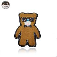 China Cartoon Bear Custom Chenille Patches Brown For Kids Apparel Accessories wholesale