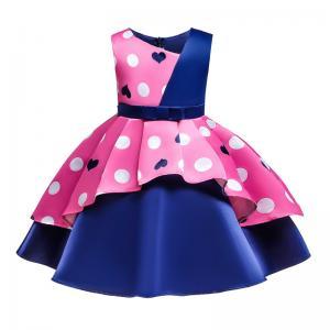 China New Arrival Pink Wave Point Heart-Shaped Flower Girl Dress Disfraz Christmas Dress Disfraz Girl Dress Christmas Clothes wholesale