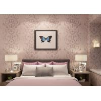 China Embossed Light Pink Living Room Wallpaper with Washable Vinyl Material , CE ISO Listed wholesale
