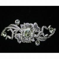 China Hair Claw, Made of Zinc Alloy, with Crystal, Various Colors and Designs are Available wholesale