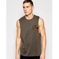 cotton vest with leopard pocket and relaxed skater fit training vest