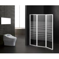 China Foldable Bathtub Shower Screen Stripe Pattern Bathroom Partition Shower Door on sale