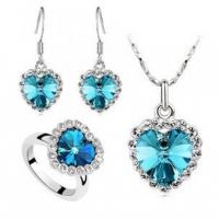 China Jewelry Austria crystal sea Necklace Earrings Ring Set with Cheap Price wholesale