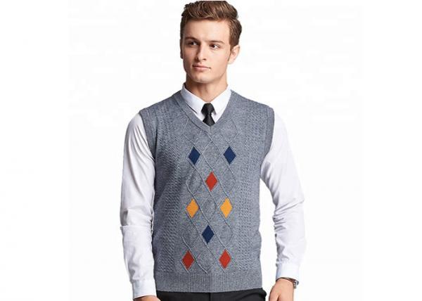 Quality Mens Argyle Sleeveless Sweater Vest Acrylic V Neck Spring Knitted Jumper for sale