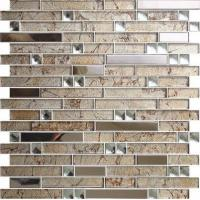 China Black & White Pattern Beveled Mirror Glass Mosaic Tile wholesale