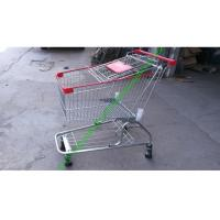 China Iron Wire Shopping Cart , Powder Coated Grocery Shopping Trolley With Elevator Wheels wholesale