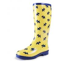 China yellow background blue cute dog print high rubber rain boots on sale