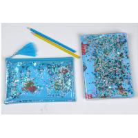 China Clear Sewing PVC Cosmetic Bag Blue Star Glitter Plastic Makeup Pouch With Confetti wholesale