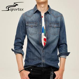 China Safe Material Soft Denim Shirt , Mens Grey Denim Shirt Shrink Resistance wholesale