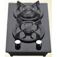 China Black Double Burner Gas Hob Glass Top , Kitchen Two Burner Gas Cooker wholesale