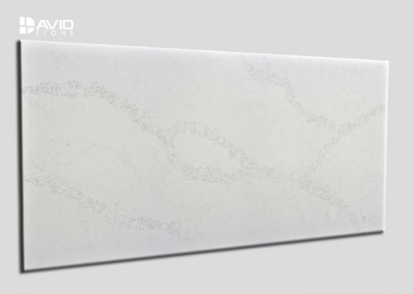 Quality Bright Sleek Surface White Quartz Slab Flame Retardant No Toxicity OEM / ODM for sale
