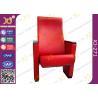 China Asiento de madera de cuero rojo del estilo del auditorio de la cubierta con los apoyabrazos de madera sólida wholesale