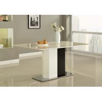 White Paint Square Steel Marble Dining Tables Modern for Island Resort Room