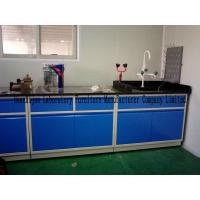 China Blue All Steel Laboratory Work Benches With Sink PP Pegboard / Adjustable Feet wholesale