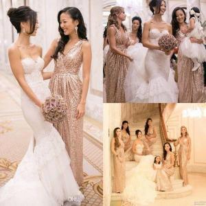 China Sexy A Line Bridesmaid Wedding Dresses / V Neck Shiny Sequins Evening Dresses wholesale
