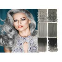 China High Light Synthetic Fibre Hair Extensions , Thick Ends Clip In Hair Extension Long Curly Weave wholesale
