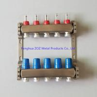 China 5 Port Stainless steel water underfloor heating manifold , 304 stainless steel intelligent water manifolds wholesale
