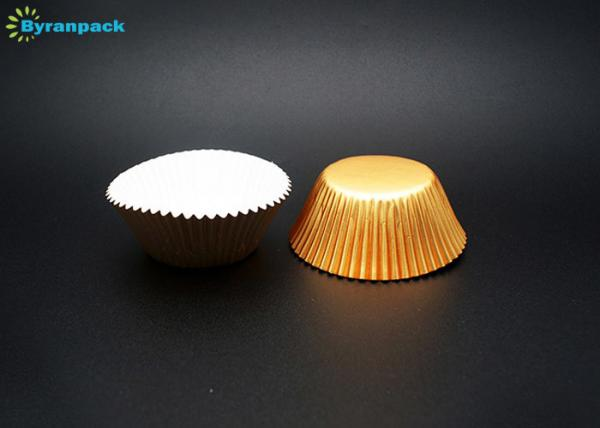 Quality Non Stick Greaseproof Baking Cups With Gold Aluminum Foil Paper Material for sale