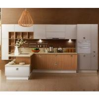 China Painting White Solid Wood Kitchen Cabinets With Wood Color Melamine Kithcen Doors on sale