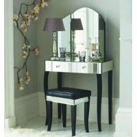 China Popular Mirrored Vanity Desk , Black Wooden Mirrored Dressing Table With Drawers on sale