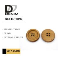 China 4 Holes Nature Wooden Buttons With Personalized Logo Raised Edge Light Weight Overcoat wholesale
