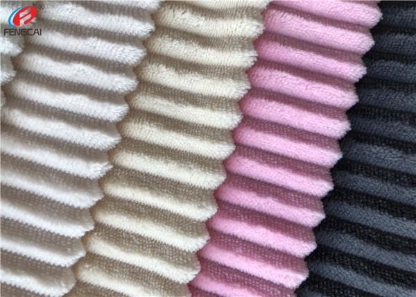 Quality Minky Plush Fabric Short Pile Fabric 100% Polyester Strip Design Velboa Fabric for sale