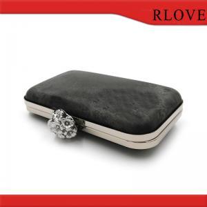 China Rectangle shape plastic box clutch purse bag metal frame with light gold on sale