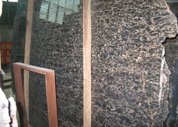 Quality Brown China Portoro Marble Slab , High Strength Marble Patio Slabs Eco Friendly for sale