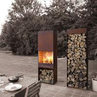 China Weather Resistant Corten Steel Wood Burning Fireplace , Yard / Garden Cast Iron Fire Pot on sale