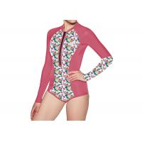 China Women Long Sleeve Surfing Diving One Piece Swimsuit , UV Protection Bikini Wetsuit wholesale