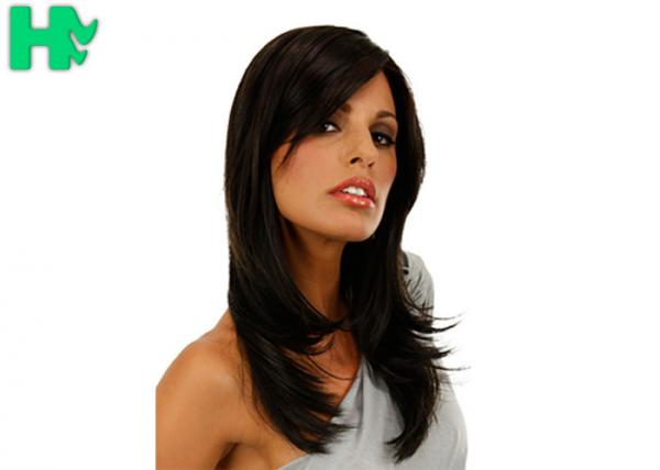Quality Premium Soft 16 Inch Long Synthetic Wigs Normal Lace Silky Straight for sale