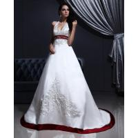 White Elegant Embroidered around the neck Wedding Dresses with Open back , Red Edge