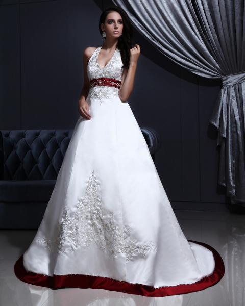 Quality White Elegant Embroidered around the neck Wedding Dresses with Open back , Red Edge for sale