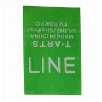 China PMS Color Folded Woven Labels Recycled For Garment , Woven Dress Labels wholesale
