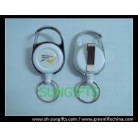China Fashion carabiner round ID badge holder with key ring and belt clip on sale
