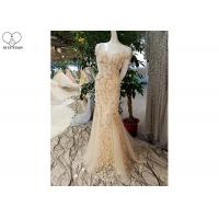 China Short Sleeve Champagne Trumpet Prom Dress Lace Flowers With Beads Tulle Train wholesale