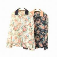 China Flower-printed blouse with 100% poly chiffon wholesale