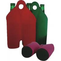 China Hot-selling High quality Neoprene Wine holder Water bottle bag two-Bottle holder with handle wholesale