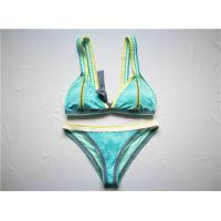 China Sky Blue Ladies' Luxury Bikini Recycled Polyester Material Blanket Stitching Wide Binding wholesale