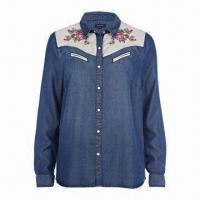 China Women's Embroidered Shirt, Mid Wash Denim Shirt, 100% Tencel on sale