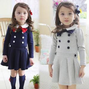 China 2014Girls Autumn&winter double-breasted dress princess dress kids dress wholesale 5pcs/lot wholesale