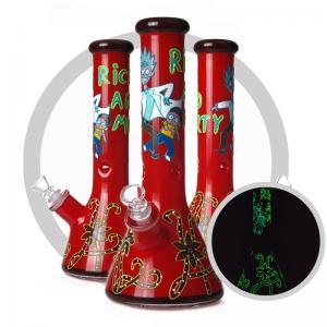 China Red 7MM Glass Smoking Pipe Rick and Morty Art Beaker Luminous Bong on sale