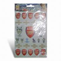 Fashionable Football Stickers, Made of Nontoxic Material, Customized Sizes and Design are Welcome