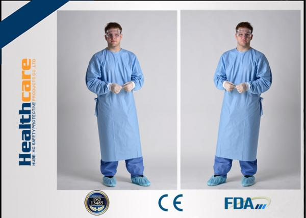 Quality Lightweight Disposable Surgical Gowns With Knitted Cuff Blood Resistence 130x150 Sterile Coat for sale