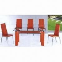 China Modern Glass Dining Table, Tempered Glass, Aluminum Legs, Measures 1300 x 800mm on sale