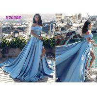 China Vintage Sleeveless Off The Shoulder Ball Gown , Cute Slit Open Back Prom Dress on sale